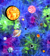 Bright Tapestries - Textiles Originals - Alternate Solar System by Maureen Wartski