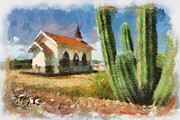 Tourist Attraction Digital Art - Alto Vista Chapel Aruba by Amy Cicconi