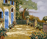 Doors Paintings - Altre Porte Blu by Guido Borelli