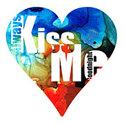 Engagement Mixed Media Prints - Always Kiss Me Goodnight 6 - Valentines Day Print by Sharon Cummings
