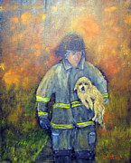 Fireman Paintings - Always On Call - Fireman by Loretta Luglio