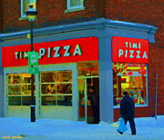 Verdun Restaurants Prints - Always Pizza Time At Time Pizza Rue Wellington Verdun Montreal Winter Cafe Scene Carole Spandau  Print by Carole Spandau