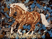 Scottsdale Drawings - Always visible - palomino horse by Lucka SR