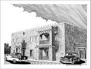 Pen And Ink Art Drawings Framed Prints - Amador Hotel in Las Cruces NM Framed Print by Jack Pumphrey