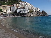 Summer Vacation Framed Prints - Amalfi Beach Framed Print by Kiril Stanchev