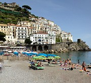 Watchtower Posters - Amalfi Beach Poster by Marilyn Dunlap