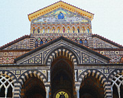 Dry Brush Framed Prints - Amalfi Cathedral Italy  Framed Print by Irina Sztukowski