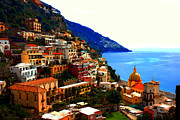 Europe Painting Acrylic Prints - Amalfi Coast - Positano-3 Painting Acrylic Print by Rodger Underwood