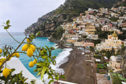 Citrus Fruit Framed Prints - Amalfi Coast Town Framed Print by George Oze