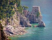 Aqua Blue Photos - Amalfi Coast Watchtower by Marilyn Dunlap