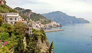 Flowers Photo Originals - Amalfi Panorama With Flowers by Marilyn Dunlap