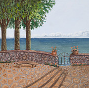 Stonewall Painting Metal Prints - Amalfi Terrace over looking the sea Metal Print by Stevie Stefano