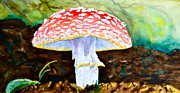 Trippy Painting Originals - Amanita and Lacewing by Beverley Harper Tinsley