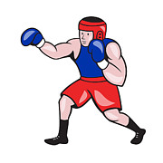Amateur Boxer Boxing Cartoon Print by Aloysius Patrimonio