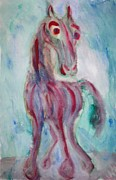 Sweating Metal Prints - Amazed horse Metal Print by Hilde Widerberg