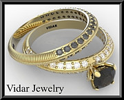 Black Ring Jewelry - Amazing Black And White Diamonds 14k Yellow Gold Wedding Ring Sets  by Roi Avidar