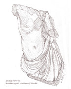 Greek Sculpture Drawings Framed Prints - Amazon Framed Print by Sharon McNeil
