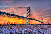 Ambassador Digital Art Prints - Ambassador Bridge Sunrise Detroit MI Print by B And G Art