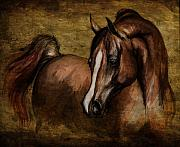 Wild Horses Drawings Metal Prints - Amber  Metal Print by Angel  Tarantella