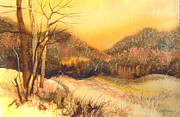 Autumn Landscape Mixed Media - Amber Sunset by Joye Moon