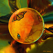 Monarch  Digital Art Framed Prints - Ambered Butterfly Orb Framed Print by Robin Moline