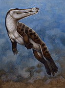 Illustration Technique Art - Ambulocetus Natans, An Early Cetacean by H. Kyoht Luterman
