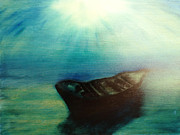 Boats In Water Paintings - Amed Bali by  Zandra Lotus