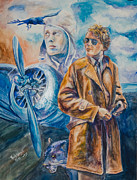 Amelia Earhart Paintings - Amelia A Ghost of Aviation by Paula Visnoski