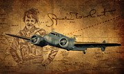 Mystery Digital Art Framed Prints - Amelia Earhart Framed Print by Dale Jackson