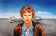 Aviators Drawings - Amelia Earhart by Todd Spaur