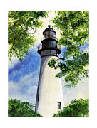 Navigation Paintings - Amelia Island Lighthouse by Diana  Tyson