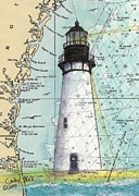 East Coast Lighthouse Paintings - Amelia Island Lighthouse FL Nautical Chart Art Cathy Peek by Cathy Peek