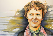 Amelia Earhart Paintings - Amelia by Scott  Parker
