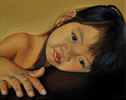 Toddler Portrait Paintings - Amelie-An 11 by Thu Nguyen