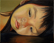 Thoughtful Painting Framed Prints - Amelie-An 12 Framed Print by Thu Nguyen