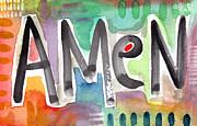 Amen- Colorful Word Art Painting Print by Linda Woods