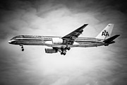 Passenger Plane Metal Prints - Amercian Airlines Airplane in Black and White Metal Print by Paul Velgos