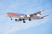 Passenger Plane Metal Prints - Amercian Airlines Boeing 757 Airplane Landing Metal Print by Paul Velgos