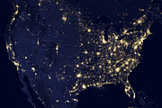 United States Map Prints - America at Night Print by Adam Romanowicz