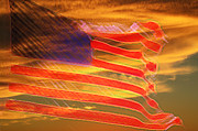 Old Glory Mixed Media Metal Prints - America Distress Metal Print by Beverly Guilliams