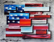Abstract American Flag Paintings - America - United Together I by Shane Miller