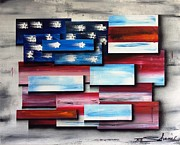 Abstract American Flag Paintings - America - United Together II by Shane Miller