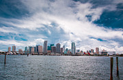 American Airlines Arena Prints - American Airline Arena and Downtown Miami  Print by Rene Triay Photography