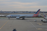 Traffic Control Photo Posters - American Airlines plane arriving at Chicago OHare airport Poster by Ash Sharesomephotos