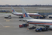 Traffic Control Photo Posters - American Airlines planes at Chicago OHare airport Poster by Ash Sharesomephotos