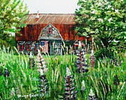 Overcast Day Paintings - American Barn by Shana Rowe