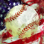 Baseballs Digital Art Posters - American Baseball Abstract Poster by David G Paul