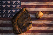 Folk Art American Flag Posters - American baseball Poster by Garry Gay