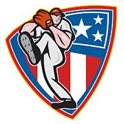 American Baseball Pitcher Shield Print by Aloysius Patrimonio