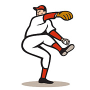 Player Posters - American Baseball Pitcher Throwing Ball Cartoon Poster by Aloysius Patrimonio